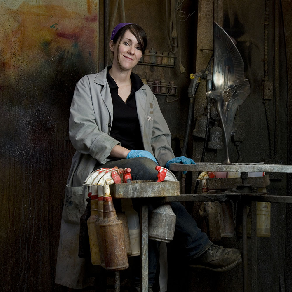 Rebecca Barker working at a foundry.