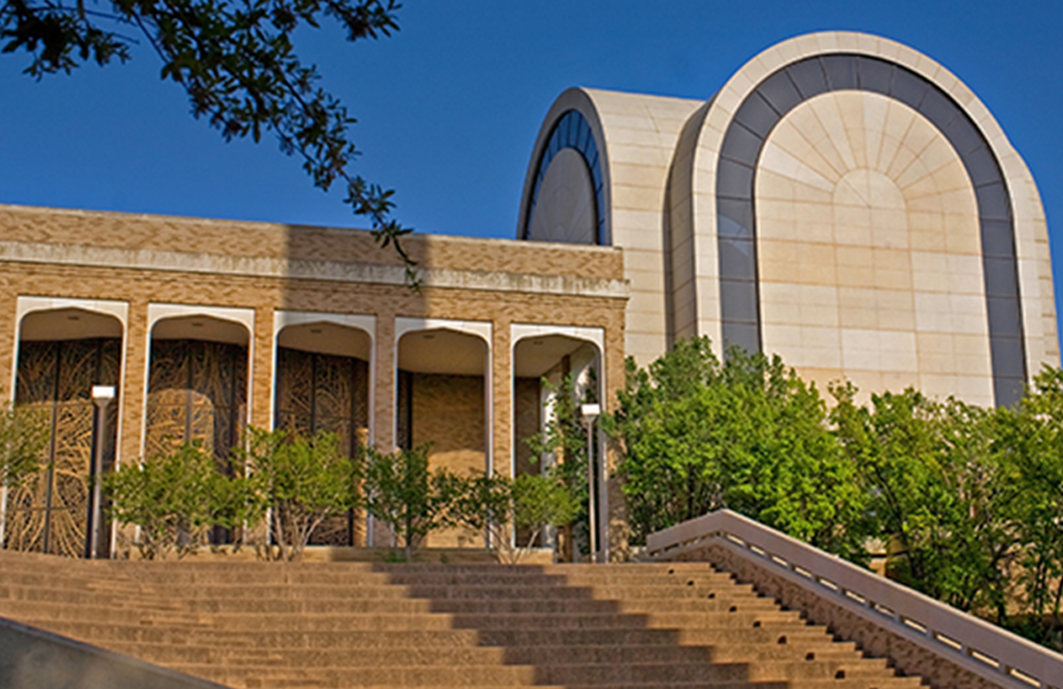 Exterior shot of the Onstead-Packer Biblical Studies Building and the Beauchamp Amphitheater