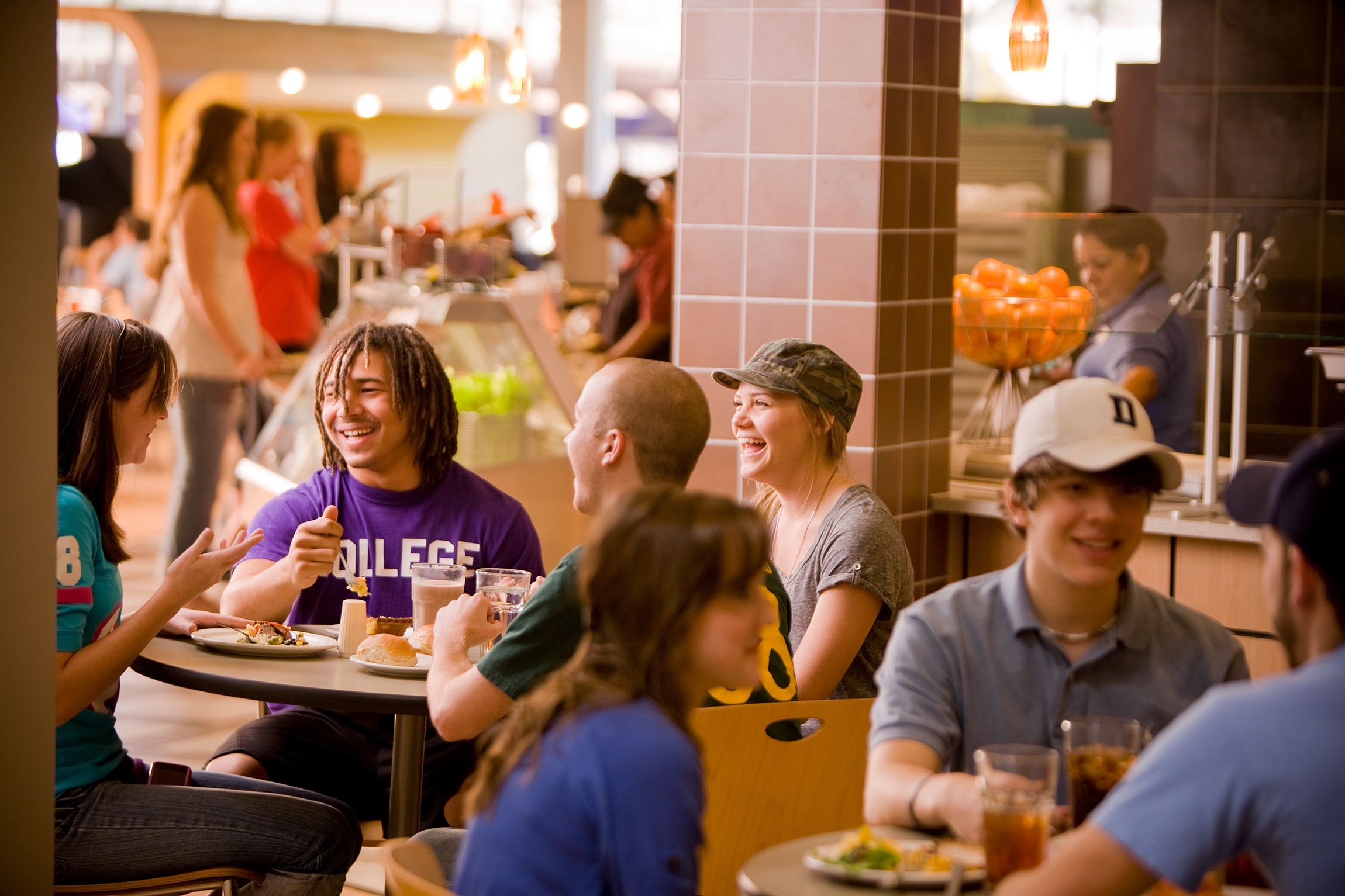 Students in a dining hall