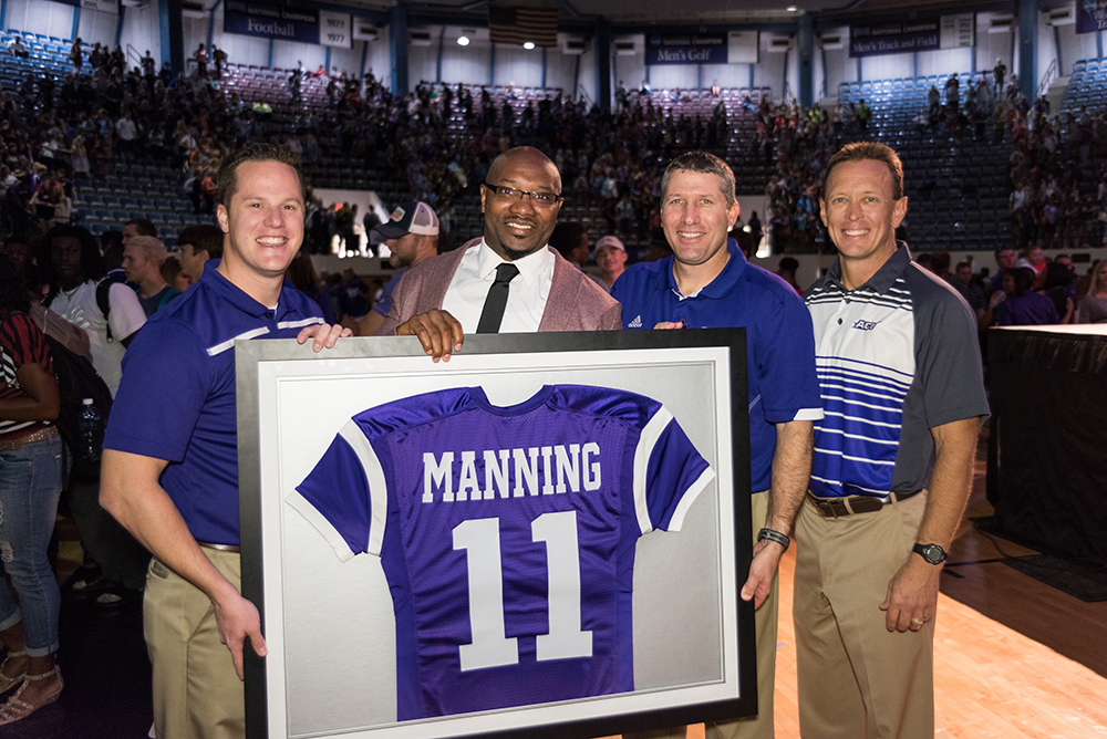 NFL Cornerback Danieal Manning showing off his retired jersey number in Chapel
