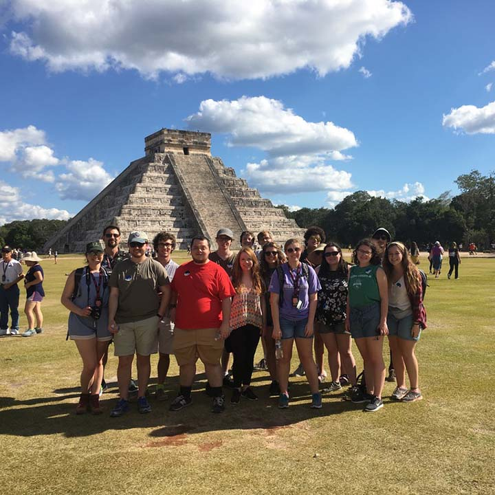 Abilene Christian University Honors College students on a trip to Mexico to explore the Mayan culture and astronomy
