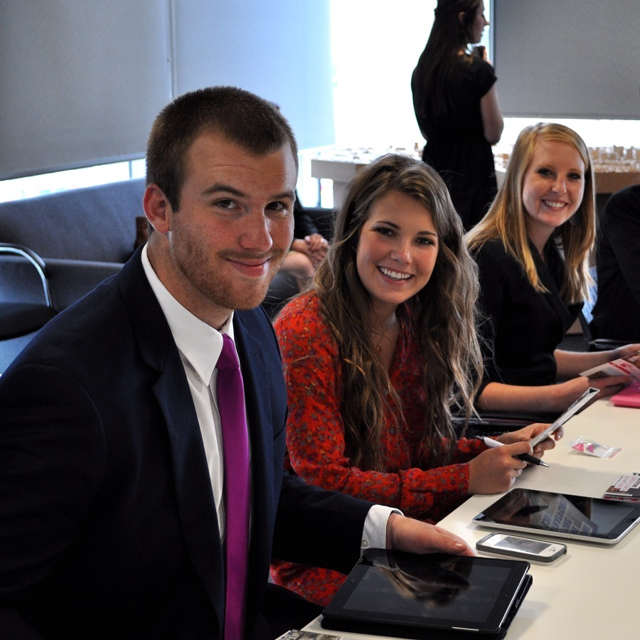 College of Business Administration students before presenting a project on a COBA Study Abroad trip
