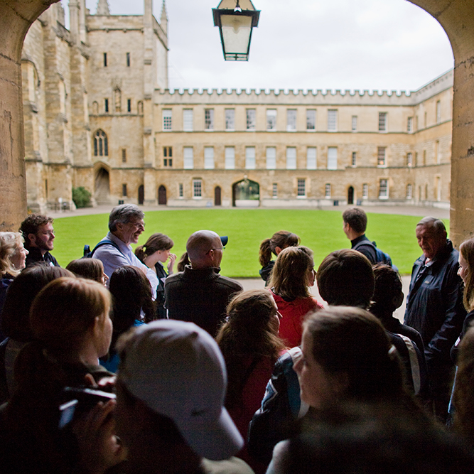 ACU students touring Christ Church College part of Oxford University